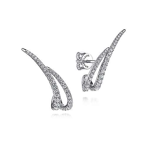 14K White Gold Curved Double Bar Diamond Post Earrings