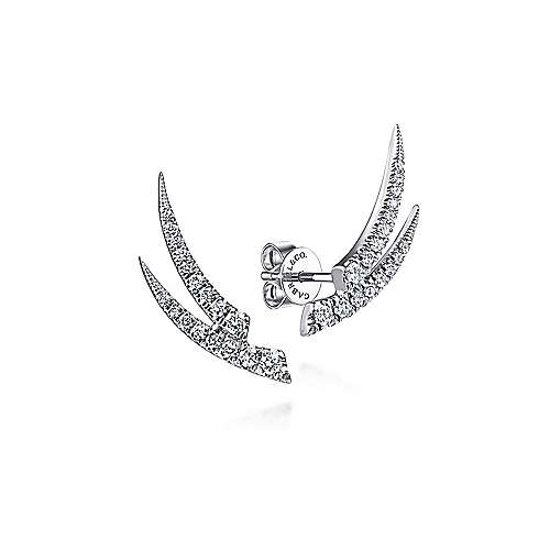 14K White Gold Curved Double Bar Diamond Stud Earrings