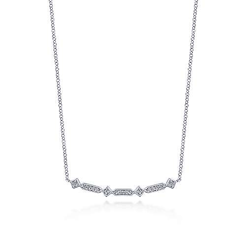 14K White Gold Curved Geometric Diamond Bar Necklace
