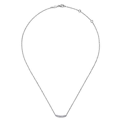 14K White Gold Curved Pavé Diamond Bar Necklace