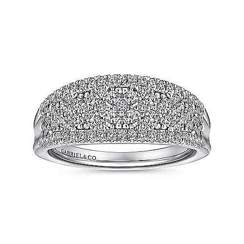 14K White Gold Curved Pavé Diamond Ring