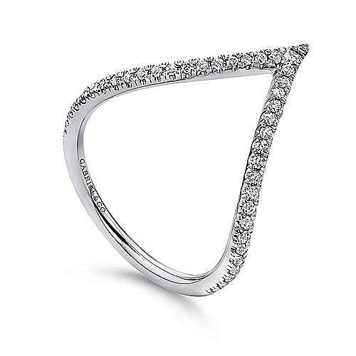 14K White Gold Curved Pavé Diamond V Ring