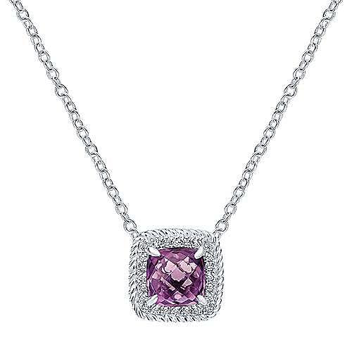 14K White Gold Cushion Cut Amethyst Diamond Halo Pendant Necklace