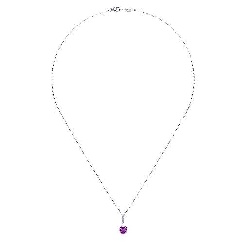 14K White Gold Cushion Cut Amethyst and Diamond Accent Pendant Necklace