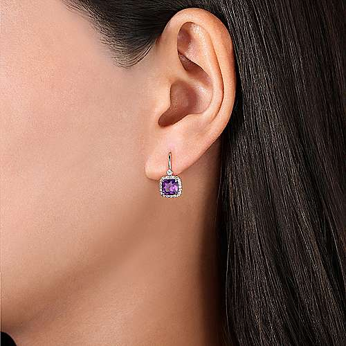 14K White Gold Cushion Cut Amethyst and Diamond Halo Drop Earrings