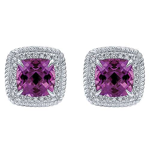14K White Gold Cushion Cut Amethyst and Diamond Stud Earrings