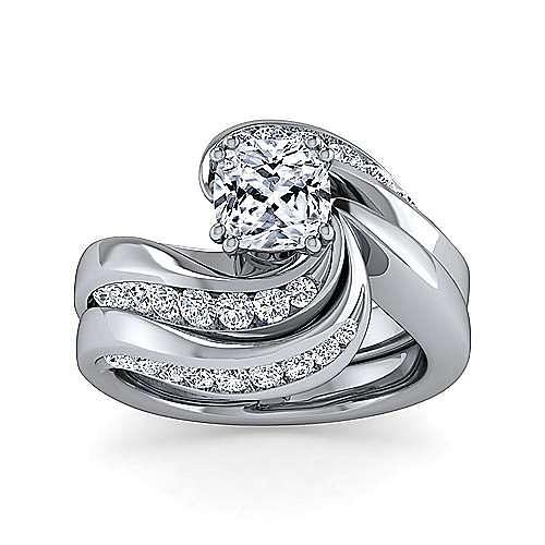 14K White Gold Cushion Cut Bypass Diamond Engagement Ring