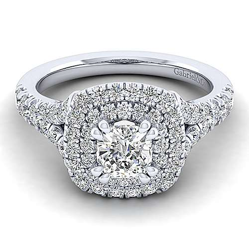 14K White Gold Cushion Cut Double Halo Diamond Engagement Ring
