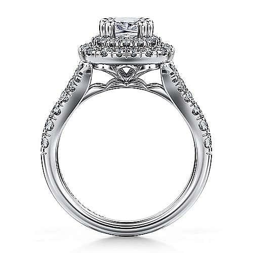 14K White Gold Cushion Cut Double Halo Diamond Engagement Ring