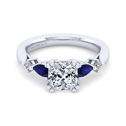 14K White Gold Cushion Cut Five Stone Sapphire and Diamond Engagement Ring