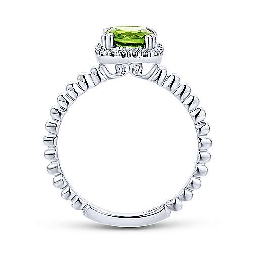 14K White Gold Cushion Cut Peridot and Diamond Halo Ring