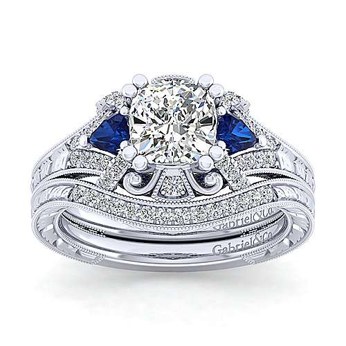 14K White Gold Cushion Cut Sapphire and Diamond Engagement Ring