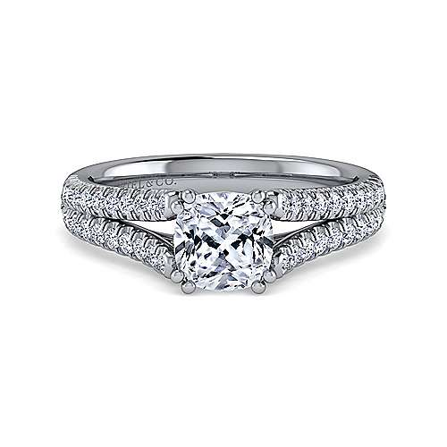 14K White Gold Cushion Cut Split Shank Diamond Engagement Ring