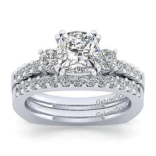 14K White Gold Cushion Cut Three Stone Diamond Engagement Ring