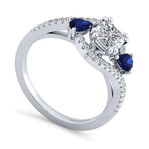 14K White Gold Cushion Cut Three Stone Sapphire and Diamond Engagement Ring