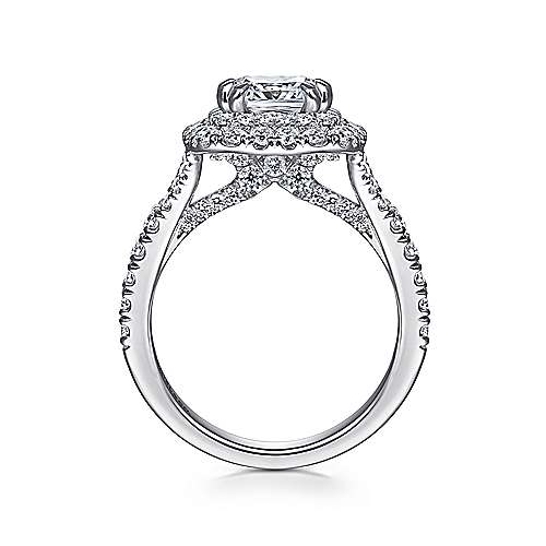 14K White Gold Cushion Double Halo Diamond Engagement Ring