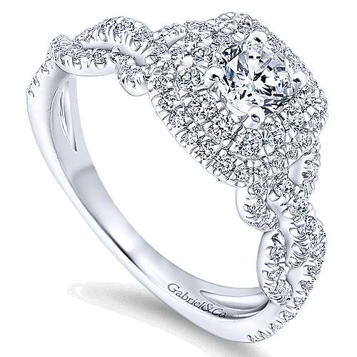14K White Gold Cushion Double Halo Round Diamond Complete Engagement Ring