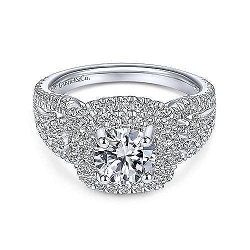 Gabriel - 14K White Gold Cushion Double Halo Round Diamond Engagement Ring
