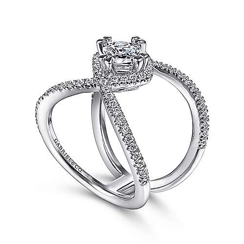 14K White Gold Cushion Halo Diamond Engagement Ring