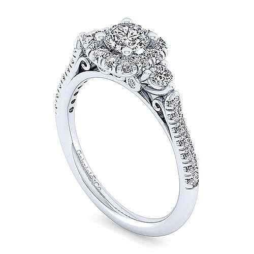 14K White Gold Cushion Halo Round Diamond 3 Stone Engagement Ring