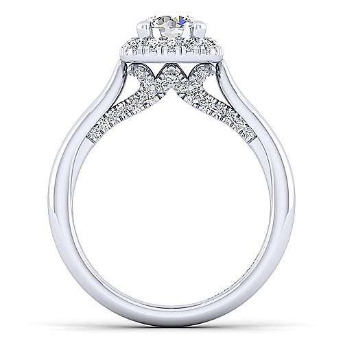 14K White Gold Cushion Halo Round Diamond Engagement Ring