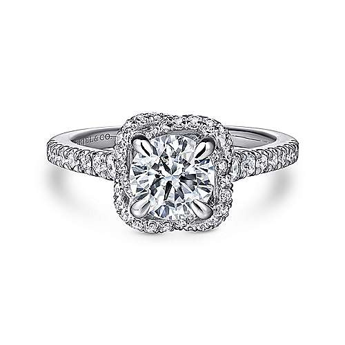 Gabriel - 14K White Gold Cushion Halo Round Diamond Engagement Ring