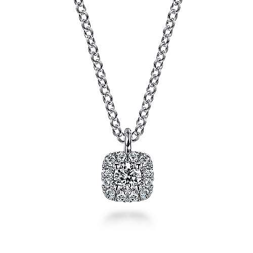 14K White Gold Cushion Halo Round Diamond Pendant Necklace