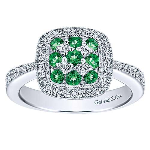 14K White Gold Cushion Shape Cluster Ring with Emerald and Diamond