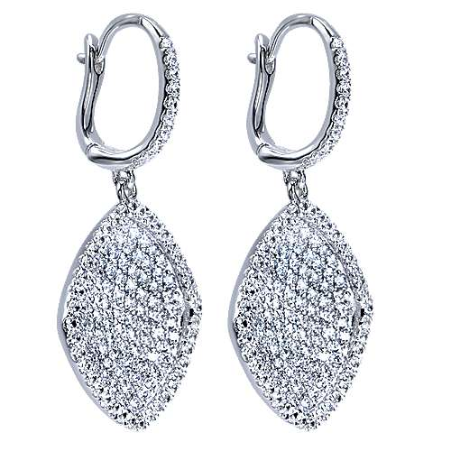 14K White Gold Cushion Shape Diamond Drop Earrings