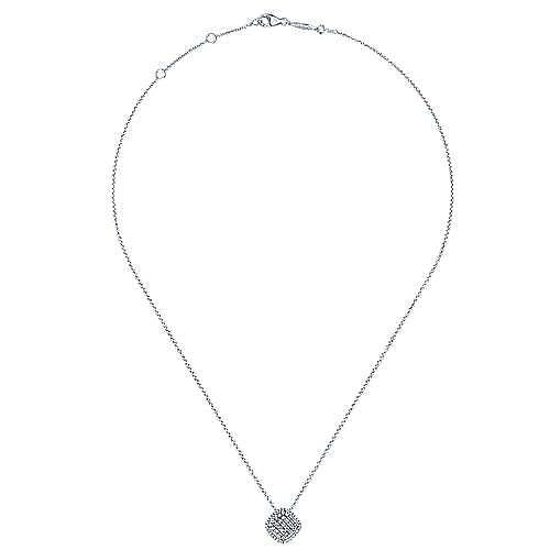 14K White Gold Cushion Shape Diamond Pavé Pendant Necklace
