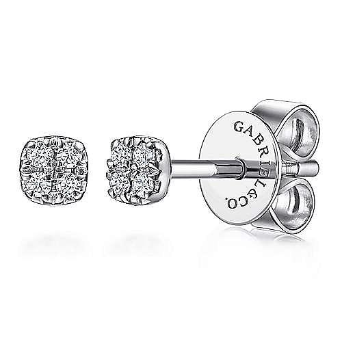 14K White Gold Cushion Shape Pavé Diamond Stud Earrings