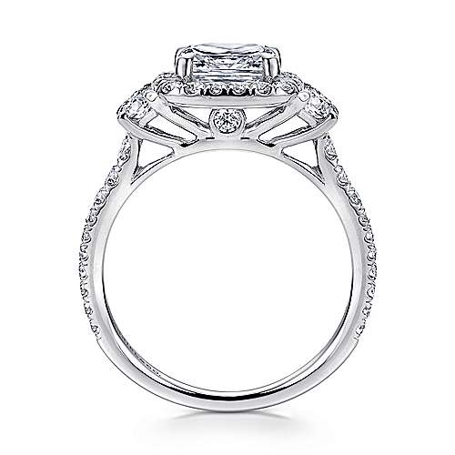 14K White Gold Cushion Three Stone Halo Diamond Engagement Ring