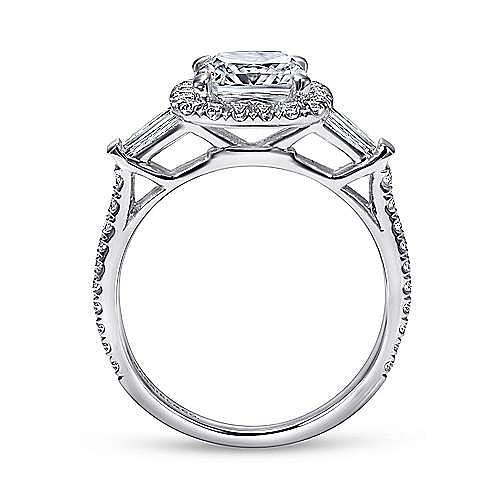 14K White Gold Cushion Three Stone Halo Diamond Engagement Ring