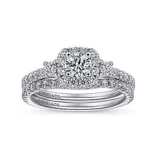 14K White Gold Cushion Three Stone Halo Round Diamond Engagement Ring
