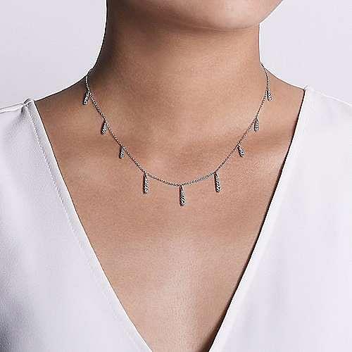 14K White Gold Dangling Diamond Station Necklace