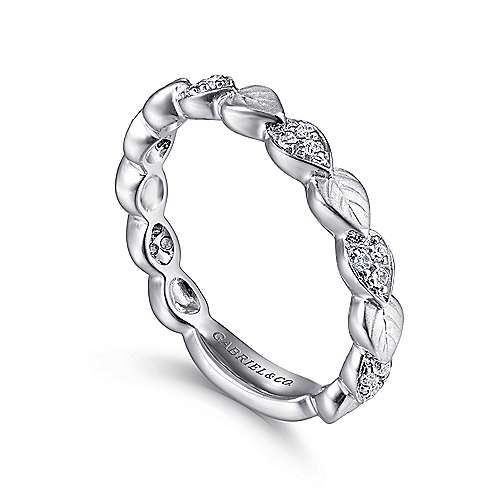 14K White Gold Delicate Leaf Stackable Diamond Band