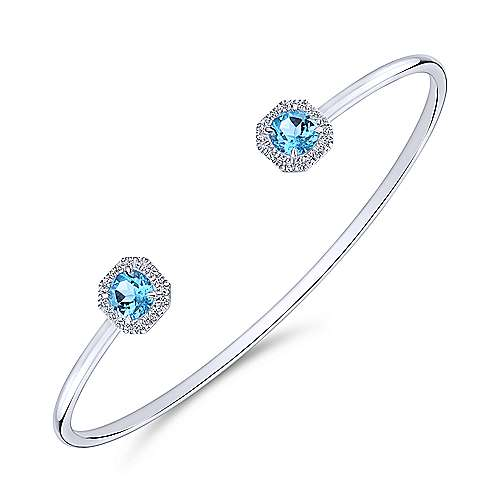 14K White Gold Diamond & Blue Topaz Bangle