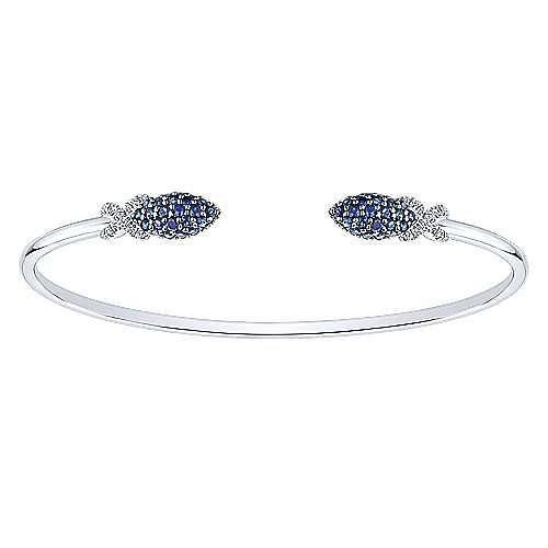 14K White Gold Diamond & Sapphire Bangle