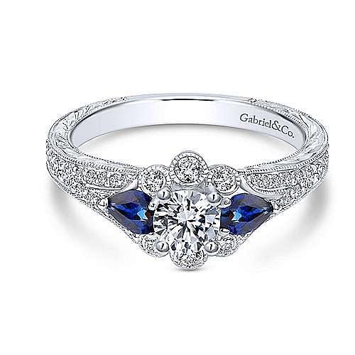 Gabriel - 14K White Gold Diamond & Sapphire Engagement Ring