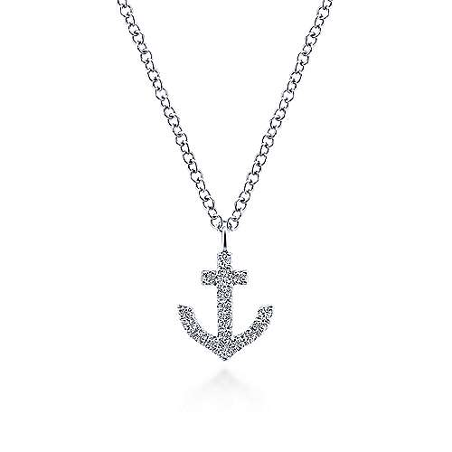 14K White Gold Diamond Anchor Pendant Necklace