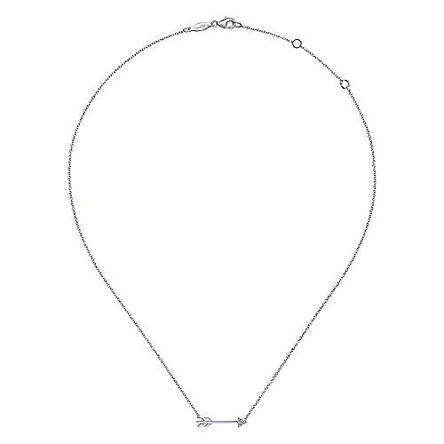 14K White Gold Diamond Arrow Necklace
