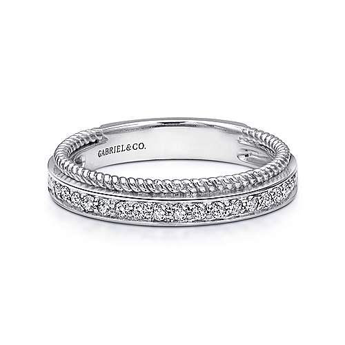 14K White Gold Diamond Band with Twisted Rope Accent