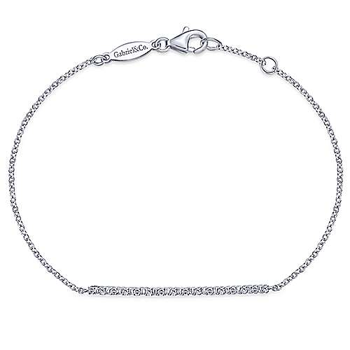 14K White Gold Diamond Bar Chain Bracelet