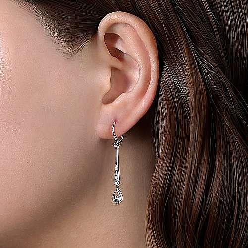 14K White Gold Diamond Bar Leverback Earrings