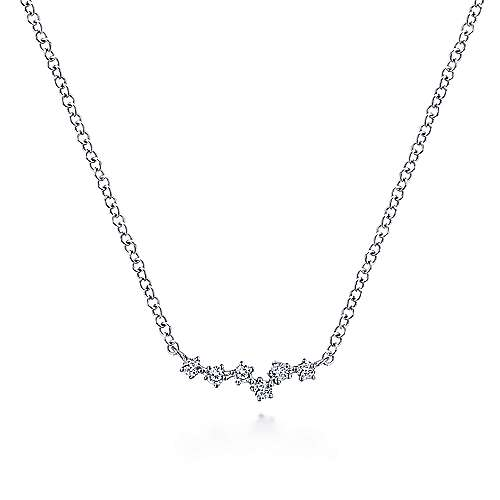 14K White Gold Diamond Bar Pendant Necklace