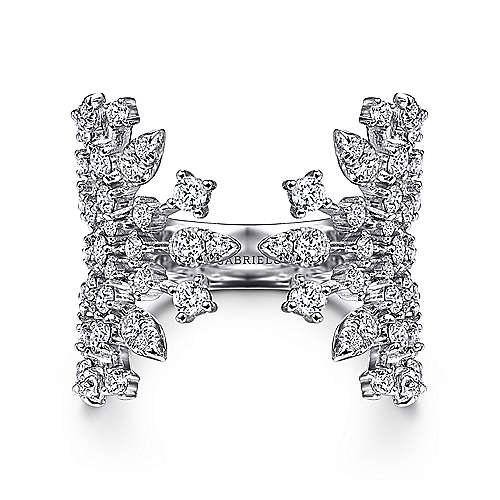 14K White Gold Diamond Branch Open Fan Ring