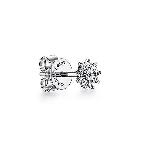 14K White Gold Diamond Burst Single Stud Earring