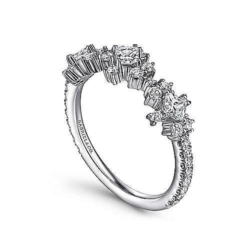 14K White Gold Diamond Burst Station Ring