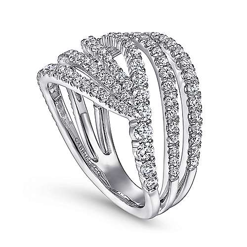14K White Gold Diamond Bypass Multi Row Ring