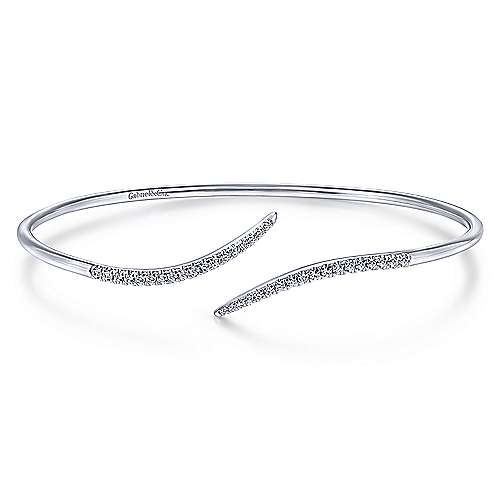 14K White Gold Diamond Bypass Open Bangle
